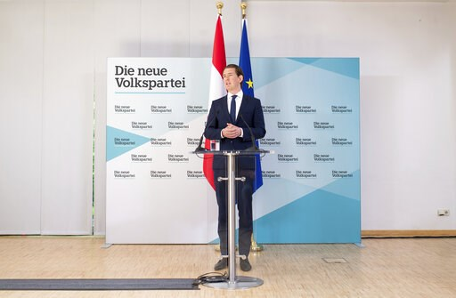 (AP Photo/Michael Gruber). Austrian Chancellor Sebastian Kurz, of the Austrian People's Party, OEVP, addresses the media during a news conference in Vienna, Austria, Monday, May 20, 2019. Austrian Chancellor Sebastian Kurz has called for an early elect...