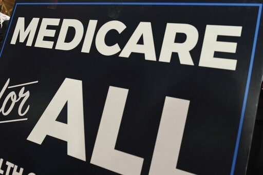 """(AP Photo/Susan Walsh, file). FILE - In this April 10, 2019 file photo, a sign is shown during a news conference to reintroduce """"Medicare for All"""" legislation, on Capitol Hill in Washington. The """"Medicare for All"""" proposal from leading Democrats runnin..."""