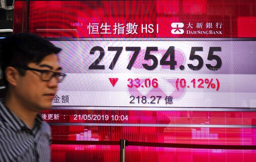 (AP Photo/Vincent Yu). A man walks past an electronic board showing Hong Kong share index outside a local bank in Hong Kong, Tuesday, May 21, 2019. Asian stocks were mixed Tuesday after anxiety over U.S. restrictions on sales to Chinese tech giant Huaw...
