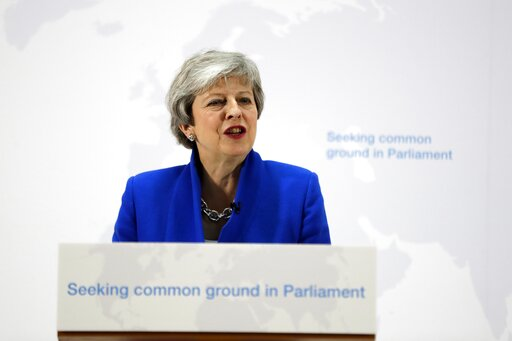 (AP Photo/Kirsty Wigglesworth, pool). Britain's Prime Minister Theresa May delivers a speech in London, Tuesday, May 21, 2019. The British government is discussing how to tweak its proposed European Union divorce terms in a last-ditch attempt to get Pa...