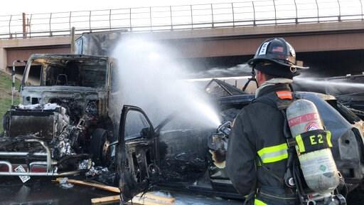 (Ronda Scholting/West Metro Fire Rescue via AP,File). FILE - This Thursday, April 25, 2019 file photo provided by West Metro Fire Rescue shows a firefighter working the scene of a deadly pileup involving over two dozen vehicles near Denver. Colorado pr...