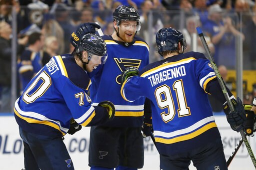 (AP Photo/Jeff Roberson). St. Louis Blues center Oskar Sundqvist (70), of Sweden; defenseman Colton Parayko (55); and Vladimir Tarasenko (91), of Russia, celebrate after the Blues scored a goal against the San Jose Sharks during the third period in Gam...