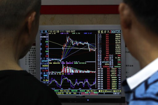 (AP Photo/Andy Wong). Investors monitor stock prices at a brokerage house in Beijing, Wednesday, May 22, 2019. Shares edged in Asia on Wednesday after a rebound in technology stocks helped power an overnight rally on Wall Street.