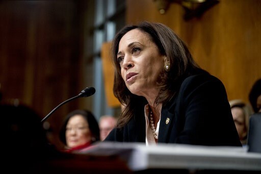(AP Photo/Andrew Harnik, File). FILE - In this Wednesday, May 1, 2019, file photo, Sen. Kamala Harris, D-Calif., speaks on Capitol Hill in Washington. Harris is offering a new bill to address racial disparities in maternal health care, one of several p...