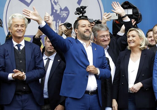 (AP Photo/Luca Bruno). From left, Geert Wilders, leader of Dutch Party for Freedom, Matteo Salvini, Jörg Meuthen, leader of Alternative For Germany party, and Marine Le Pen, attend a rally organized by League leader Matteo Salvini, with leaders of othe...