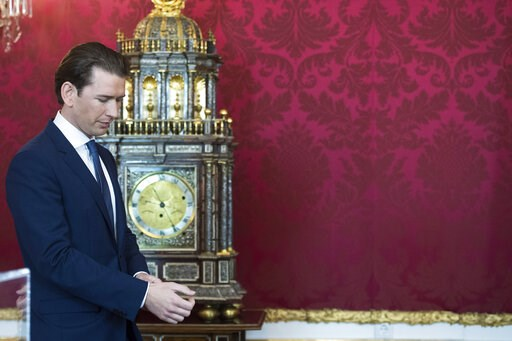 (AP Photo/Michael Gruber). Austrian Chancellor Sebastian Kurz, attend an inauguration ceremony at Hofburg palace in Vienna, Austria, Tuesday, May 21, 2019. Austrian Chancellor Sebastian Kurz has called for an early election after the resignation of his...