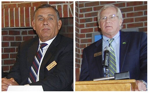 (Robin Smith/Caledonian-Record via AP, File). FILE - This combination of Sept. 27, 2012, file photos, show Jay Peak Resort co-owner Ariel Quiros, left, and Jay Peak Resort co-owner and CEO Bill Stenger at a news conference in Newport, Vt. Fraud charge...