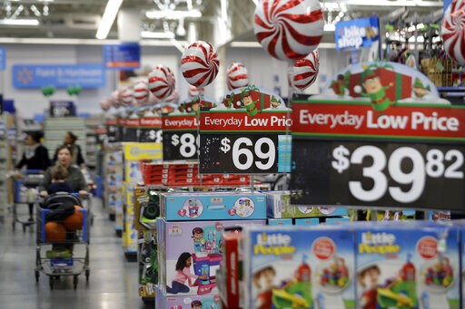 (AP Photo/Julio Cortez, File). FILE - This Oct. 26, 2016, file photo, shows prices in the toy section at Walmart in Teterboro, N.J.  An escalating trade war with China could mean higher prices on a broad array of products from toys to clothing. But som...
