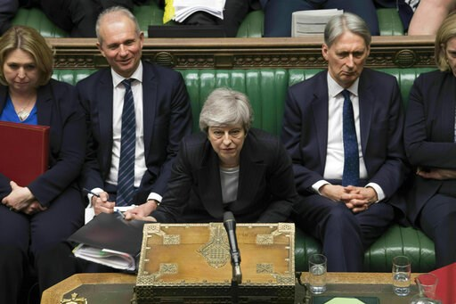 (Mark Duffy/UK Parliament via AP). In this image made available by UK Parliament, Britain's Prime Minister Theresa May speaks during Prime Minister's Questions in the House of Commons, London, Wednesday, May 22, 2019. British Prime Minister Theresa May...