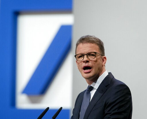 (AP Photo/Michael Probst). CEO of Deutsche Bank Christian Sewing speaks during the annual shareholders meeting in Frankfurt, Germany, Thursday, May 23, 2019.