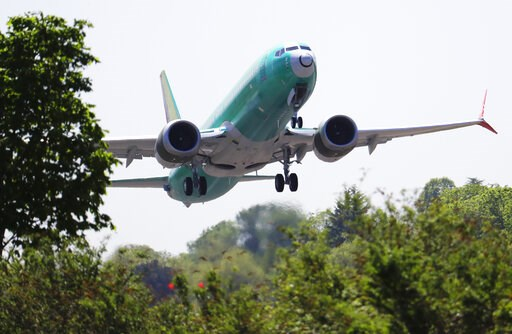 (AP Photo/Ted S. Warren, File). FILe - In this May 8, 2019, file photo, a Boeing 737 MAX 8 jetliner being built for Turkish Airlines takes off on a test flight in Renton, Wash. Representatives from more 30 countries met with Federal Aviation Administra...