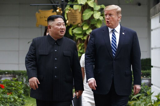 (AP Photo/Evan Vucci, File). FILE - In this Feb. 28, 2019 file photo, President Donald Trump and North Korean leader Kim Jong Un take a walk after their first meeting at the Sofitel Legend Metropole Hanoi hotel, in Hanoi. North Korea says nuclear negot...
