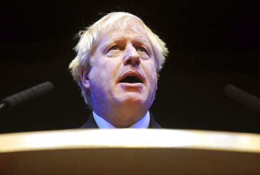 (AP Photo/Rui Vieira, File). FILE - In this Tuesday, Oct. 2, 2018 file photo, British Conservative Party Member of Parliament Boris Johnson speaks at a fringe event during the Conservative Party annual conference at the International Convention Centre,...