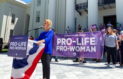 (AP Photo/Kim Chandler, File). FILE - In this Wednesday, May 22, 2019, file photo, Beck Gerritson, president of Eagle Forum of Alabama, speaks at an anti-abortion rally outside the Capitol in Montgomery, Ala. Even as the anti-abortion movement celebrat...