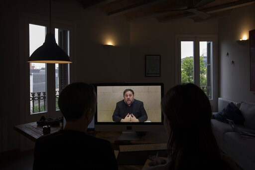 (AP Photo/Emilio Morenatti). The leader of the Catalan ERC party and European Parliament candidate Oriol Junqueras speaks from Soto del Real prison in Madrid, Friday, May 24, 2019, during an interview via video conference with The Associated Press in B...