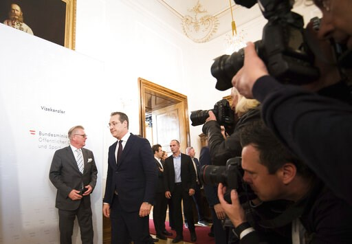 (AP Photo/Michael Gruber, File). FILE - In this Saturday, May 18, 2019 file photo, Austrian Vice Chancellor Heinz-Christian Strache (Austrian Freedom Party), second left, arrives for a press conference at the sport ministry in Vienna, Austria. The Euro...