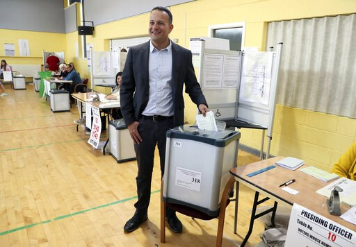 (Brian Lawless/PA via AP). Taoiseach Leo Varadkar casts his vote at Scoil Thomais, Castleknock as people across the Republic of Ireland go to the polls to vote in the European and local elections along with the referendum on Ireland's divorce laws, in ...
