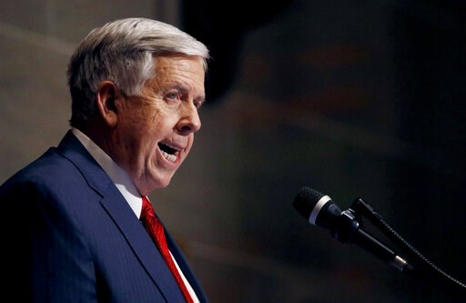 (AP Photo/Charlie Riedel, File). FILE - In this Jan. 16, 2019, file photo, Missouri Gov. Mike Parson delivers his State of the State address in Jefferson City, Mo. Missouri's Republican-led Legislature has passed a sweeping bill to ban abortions at eig...