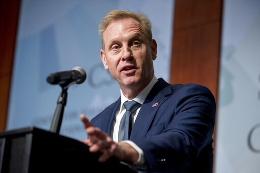 (AP Photo/Andrew Harnik, File). FILE - In this March 20, 2019 file photo, Acting Defense Secretary Patrick Shanahan speaks at the Center for Strategic and International Studies in Washington. Shanahan is set to deliver the commencement address to the 2...