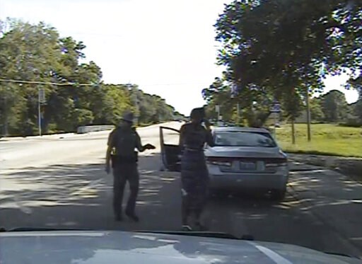 (Texas Department of Public Safety via AP, File). FILE - In this July 10, 2015, file frame from dashcam video provided by the Texas Department of Public Safety, Trooper Brian Encinia arrests Sandra Bland after she became combative during a routine traf...