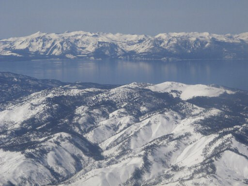 (AP Photo/Scott Sonner). Scientists say water clarity has rebounded from an all-time low in 2017 at Lake Tahoe, pictured in this photo taken from an airplane departing from Reno, Nev. on March 2, 2017. UC Davis researches said on Thursday, May 23, 2019...