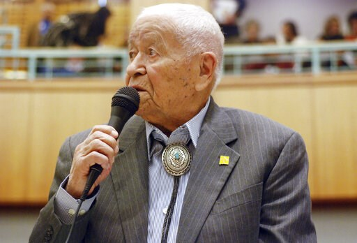 (AP Photo/Morgan Lee, File). FILE - In this Feb. 2, 2018, fle photo Democratic New Mexico state Sen. John Pinto talks about his career as a lawmaker on American Indian Day in the Legislature on  in Santa Fe, N.M. Pinto joined the Senate in 1977 and is ...