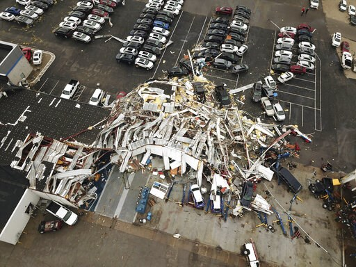 (DroneBase via AP). This aerial image shows severe storm damage in Jefferson City, Mo., Thursday, May 23, 2019, after a tornado hit overnight. A tornado tore apart buildings in Missouri's capital city as part of an overnight outbreak of severe weather ...