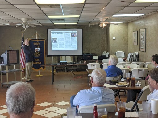 (AP Photo/Hannah Grabenstein). In this on Thursday, May 23, 2019 photo, Walter Hussman Jr., publisher of the statewide newspaper the Arkansas Democrat-Gazette, explains to members of the Hope, Arkansas Rotary Club how to access and use the paper's digi...