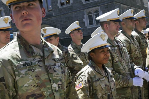 (AP Photo/Mark Lennihan). In this May 22, 2019 photo Briana Love, center, and fellow underclassmen prepare to drill at the U.S. Military Academy in West Point, N.Y. The class graduating on Saturday, May 25,  will include 223 women, the largest number s...