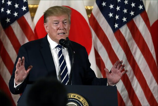 (AP Photo/Evan Vucci). President Donald Trump speaks as he meets with Japanese business leaders, Saturday, May 25, 2019, in Tokyo.