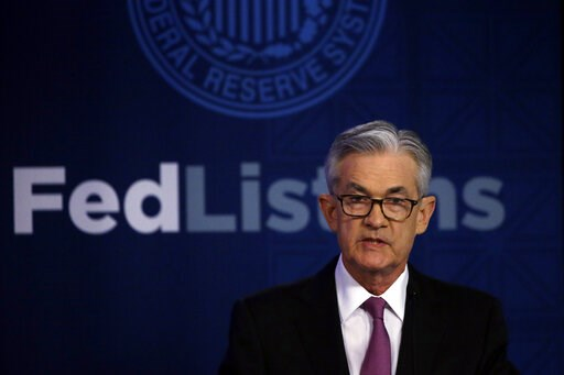 (AP Photo/Kiichiro Sato). Federal Reserve Chairman Jerome Powell speaks at a conference involving its review of its interest-rate policy strategy and communications, Tuesday, June 4, 2019, in Chicago.