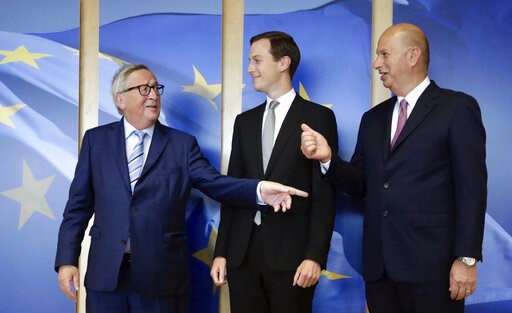 (AP Photo/Olivier Matthys). Senior Advisor to the President of the United States Jared Kushner, center, and US Ambassador to the EU Gordon Sondland, right, are greeted by European Commission President Jean-Claude Juncker prior to a meeting at EU headqu...