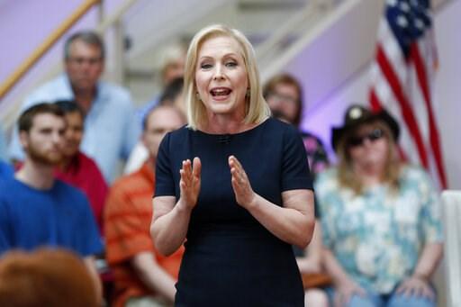 (AP Photo/Charlie Neibergall). Democratic presidential candidate Sen. Kirsten Gillibrand speaks during a FOX News town hall, Sunday, June 2, 2019, in Dubuque, Iowa.