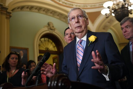 (AP Photo/Susan Walsh). Senate Majority Leader Mitch McConnell of Ky., speaks to reporters following the weekly policy lunches on Capitol Hill in Washington, Tuesday, June 4, 2019.