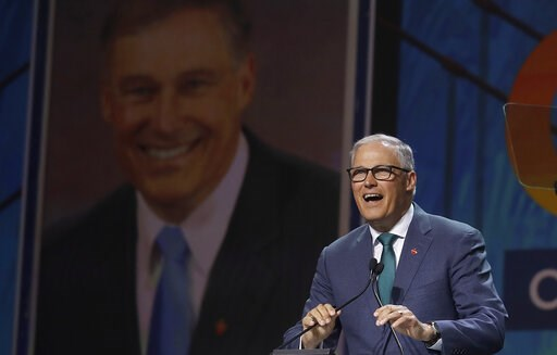 (AP Photo/Jeff Chiu). Democratic presidential candidate Washington Gov. Jay Inslee speaks during the 2019 California Democratic Party State Organizing Convention in San Francisco, Saturday, June 1, 2019.