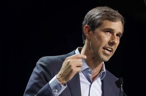 (AP Photo/Jeff Chiu). In this June 1, 2019, photo, Democratic presidential candidate and former Texas Congressman Beto O'Rourke speaks during the 2019 California Democratic Party State Organizing Convention in San Francisco. O'Rourke has unveiled a vot...