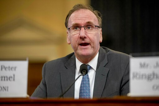 (AP Photo/Andrew Harnik). Office of the Director of National Intelligence National Security Council Counselor Peter Kiemel speaks at a House Intelligence Committee hearing on national security implications of climate change on Capitol Hill in Washingto...