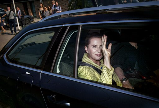 (Liselotte Sabroe/Ritzau Scanpix via AP). Opposition leader Mette Frederiksen from The Danish Social Democrats leaves after casting her vote during the Danish Parliamentary Election 2019, in Copenhagen, Wednesday 5 June 2019.