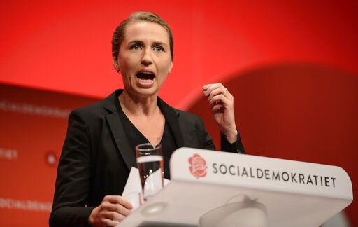 (Rene Schutze/Polfoto via AP, File). FILE - In this Friday Sept. 23, 2016 file photo, Danish Social Democrats chairman Mette Frederiksen gestures, during her opening speech at the Social Democratic Party's Congress 2016 in Aalborg, Denmark. A member of...