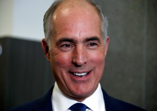 (AP Photo/Gene J. Puskar, File). FILE - In this Oct. 26, 2018, file photo, Sen.Bob Casey, D-Pa., speaks to reporters in the studio of KDKA-TV in Pittsburgh. For years the federal government for years has kept under wraps the names of hundreds of nursin...