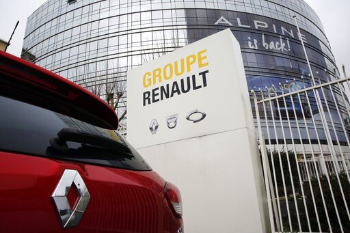 (AP Photo/Christophe Ena). This photo taken on Thursday, Jan. 24, 2019 show a Ranult car parking outside the French carmaker headquarters in Boulogne-Billancourt, outside Paris, France. French carmaker Renault looks set to give its approval to Fiat Chr...