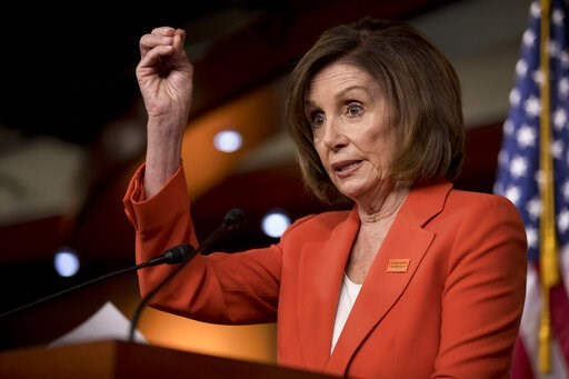 (AP Photo/Andrew Harnik). In this June 5, 2019, photo, House Speaker Nancy Pelosi of Calif., speaks to reporters at the Capitol in Washington. The political clock is a significant factor in whether majority House Democrats launch any impeachment procee...