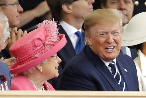 (AP Photo/Matt Dunham). Queen Elizabeth II and President Donald Trump attend an event to mark the 75th anniversary of D-Day in Portsmouth, England Wednesday, June 5, 2019. World leaders including U.S. President Donald Trump are gathering Wednesday on t...