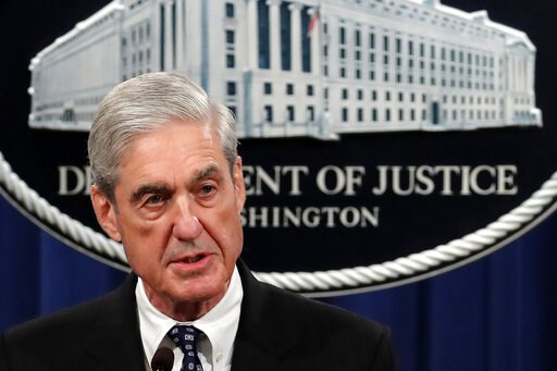 (AP Photo/Carolyn Kaster). Special counsel Robert Mueller speaks at the Department of Justice Wednesday, May 29, 2019, in Washington, about the Russia investigation.