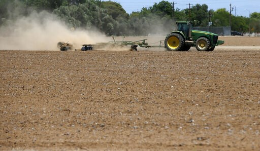 (AP Photo/Ross D. Franklin,File). FILE - In this May 23, 2018 file photo a farmer plows a dry and dusty cotton field in Phoenix. Arizona farmers will soon begin planting commercial hemp under a 2018 state law that just took effect once the state issues...