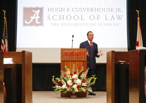 (Gary Cosby Jr./The Tuscaloosa News via AP). In this Sept. 20, 2018, photo, Hugh F. Culverhouse Jr., who pledged a $26.5 million donation to the University of Alabama law school, speaks during an event in Tuscaloosa, Ala. The university appears poised ...