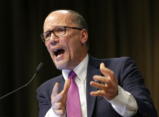 (AP Photo/Seth Wenig). In this April 3, 2019, photo, Tom Perez, chairman of the Democratic National Committee, speaks during the National Action Network Convention in New York. The Democratic National Committee is upping the ante for its second round o...