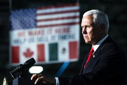 (AP Photo/Matt Rourke). Vice President Mike Pence speaks at JLS Automation in York, Pa., Thursday, June 6, 2019.