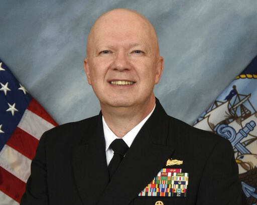 (U.S. Navy via AP). This image provided by the U.S. Navy shows Rear Adm. Jeffrey Harley, president of the U.S. Naval War College in Newport, R.I. Dozens of emails, which span from December 2017 to May 2019, were shared with The Associated Press by peop...