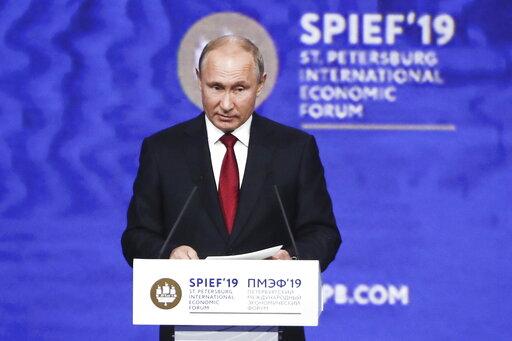 (Valery Sharifulin/TASS News Agency Pool Photo via AP). Russian President Vladimir Putin addresses the St. Petersburg International Economic Forum in St. Petersburg, Russia, Friday, June 7, 2019.